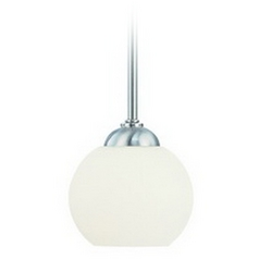 Satin Nickel Mini-Pendant with White Glass