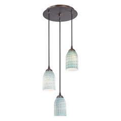 Design Classics Lighting Modern Multi-Light Pendant Light with Blue Glass and 3-Lights 583-220 GL1003D