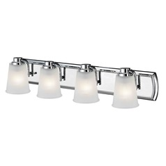 4-Light Bathroom Light with Frosted Prismatic Glass in Chrome Finish