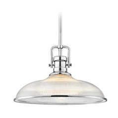 Industrial Chrome Pendant Light Prismatic Glass 14.38-Inch Wide