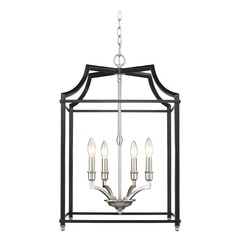 Leighton PW 4 Light Pendant in Pewter with Black