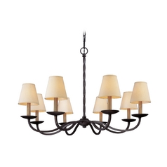 Chandelier with Beige / Cream Shades in English Iron Finish