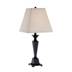 Lite Source Lighting Dolan Antique Black Table Lamp with Square Shade