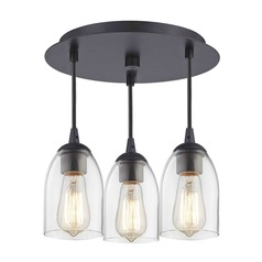 3-Light Semi-Flush Light with Clear Dome Glass - Bronze Finish