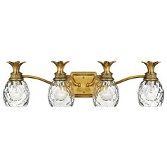 4-Light Burnished Brass Pineapple Bathroom Light with Clear Glass