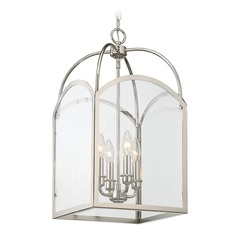 Savoy House Lighting Garrett Polished Nickel Pendant Light with Square Shade
