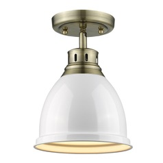Golden Lighting Duncan Ab Aged Brass Semi-Flushmount Light