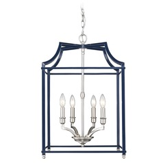 Leighton PW 4 Light Pendant in Pewter with Navy