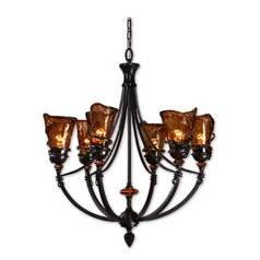 Chandelier with Art Glass in Oil Rubbed Bronze Finish