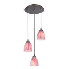 Design Classics Lighting Modern Multi-Light Pendant Light with Pink Art Glass and 3-Lights 583-220 GL1004MB