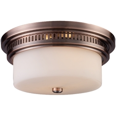 Flushmount Light with White Glass in Antique Copper Finish