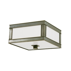 Flushmount Light with White Glass in Old Bronze Finish