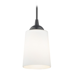 Black Mini-Pendant Light with Satin White Glass
