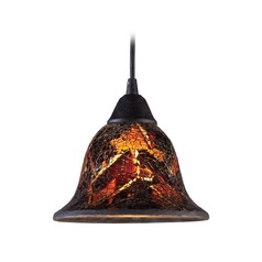 Firestorm Dark Rust Mini-Pendant Light with Bell Shade - Includes Recessed Adapter Kit