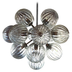 Oggetti Lighting Perle Chrome Pendant Light with Globe Shade