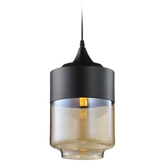 Avenue Lighting Robertson Blvd. Black Mini-Pendant Light with Cylindrical Shade