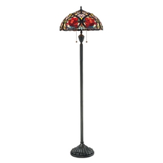 Floor Lamp with Tiffany Glass in Vintage Bronze Finish