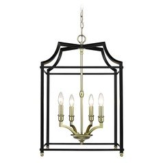 Leighton SB 4 Light Pendant in Satin Brass with Black
