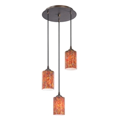 Design Classics Lighting Modern Multi-Light Pendant Light with Art Glass and 3-Lights 583-220 GL1012C