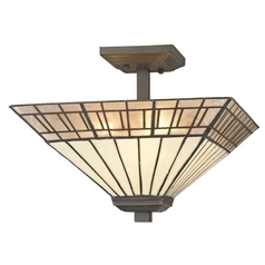 Mission Tiffany Bronze Semi-Flushmount Ceiling Light
