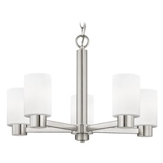 Satin White Glass Chandelier Satin Nickel