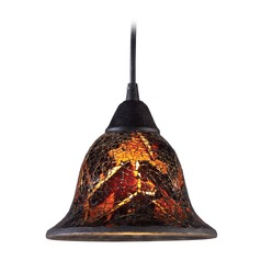Elk Lighting Firestorm Dark Rust LED Mini-Pendant Light with Bell Shade