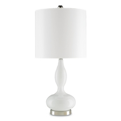 Currey and Company Lighting Opal White / Polished Nickel Table Lamp with Drum Shade