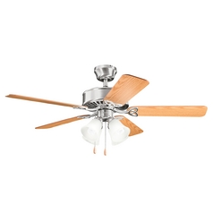 Kichler Lighting Renew Premier Brushed Stainless Steel Ceiling Fan with Light