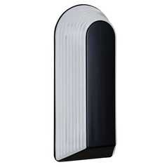 Frosted Ribbed Glass Outdoor Wall Light Black Costaluz by besa Lighting