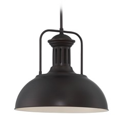 Lite Source Dark Bronze Pendant Light with Bowl / Dome Shade