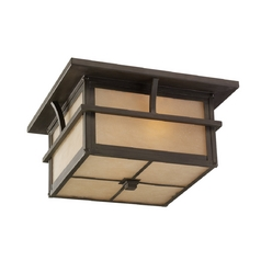 Close To Ceiling Light with Amber Glass in Statuary Bronze Finish