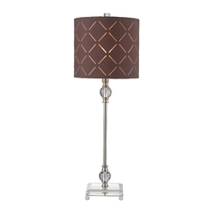 HGTV Table Lamp in Brushed Steel with Brown Drum Shade