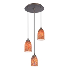 Design Classics Lighting Modern Multi-Light Pendant Light with Art Glass and 3-Lights 583-220 GL1012D