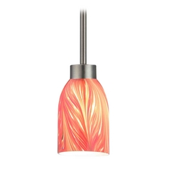 Modern Mini-Pendant Light with Red Glass