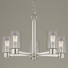 Clear Glass Chandelier Satin Nickel