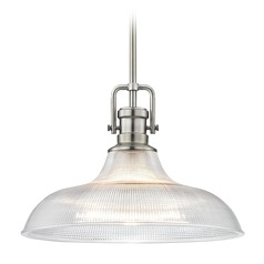 Industrial Pendant Light Prismatic Glass 15.38-Inch Wide