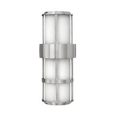 Modern Outdoor Wall Light with White Glass in Stainless Steel Finish