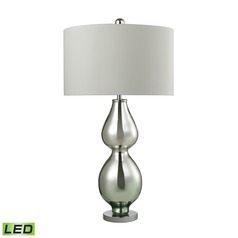 Dimond Lighting Silver Mercury, Green Accent LED Table Lamp with Drum Shade