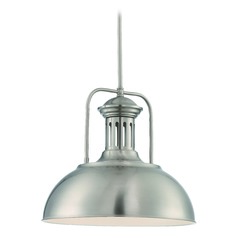 Lite Source Polished Steel Pendant Light with Bowl / Dome Shade