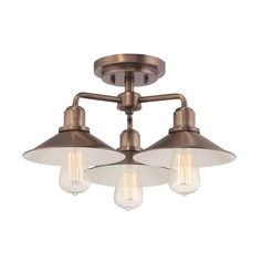 Designers Fountain Newbury Station Old Satin Brass Semi-Flushmount Light