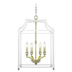 Leighton SB 4 Light Pendant in Satin Brass with White