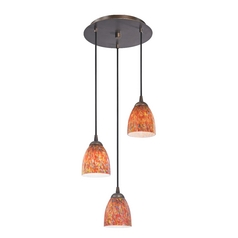 Design Classics Lighting Modern Multi-Light Pendant Light with Art Glass and 3-Lights 583-220 GL1012MB