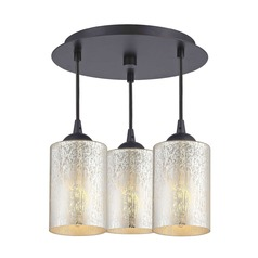 3-Light Semi-Flush Light with Mercury Cylinder Glass - Bronze Finish