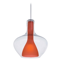 Modern Pendant Light with Orange Glass in Chrome Finish