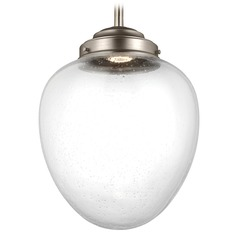 Feiss Lighting Alcott Satin Nickel LED Pendant Light with Oval Shade