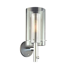 Modern Switched Sconce with Chrome Perforated Cylinder and Clear Glass