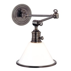Swing Arm Lamp with White Glass in Old Bronze Finish