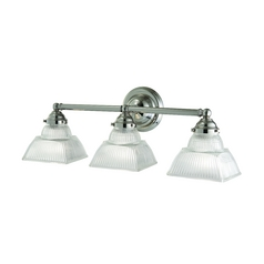 Bathroom Light with Clear Glass in Satin Nickel Finish