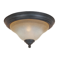 Flushmount Light with Beige / Cream Glass in Natural Iron Finish