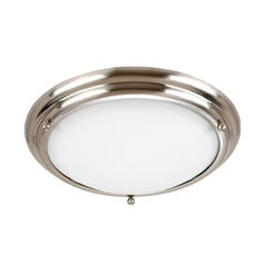 Flushmount Light with White Glass in Brushed Stainless Finish